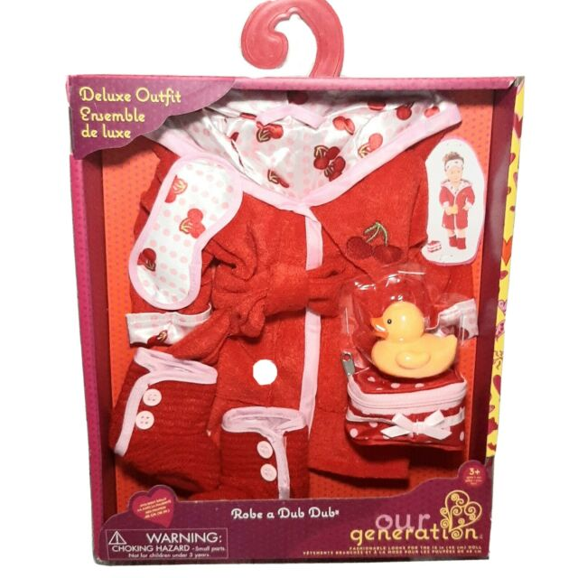"Our Generation Dolls - Robe A Dub Doll Deluxe Cherry Robe Outfit 18"" With Ducky"