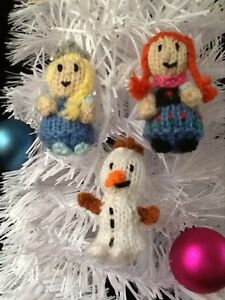image is loading knitting pattern frozen inspired 3 christmas tree decorations