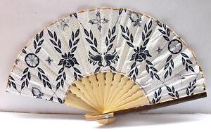 Handmade-Batik-Bamboo-Folding-Hand-Fan-White-Blue-S-New