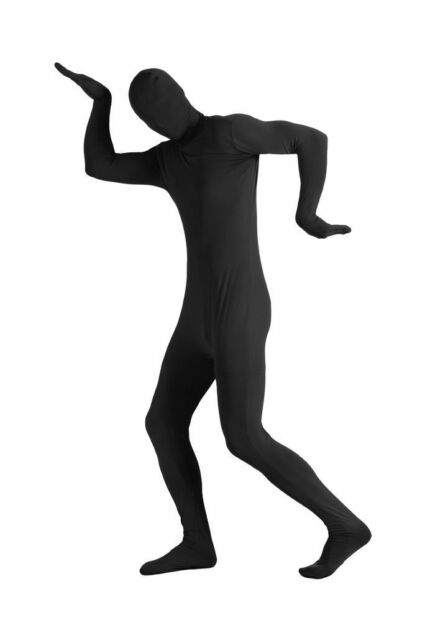 2ND SKIN BLACK Full Body Stretch Jumpsuit w/ Hood Zentai Rave Costume Adult Size