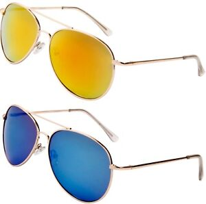 Image is loading Designer-Sunglasses-Silver-Gold-Black-Mirrored-Pilot-Retro- 61542942e
