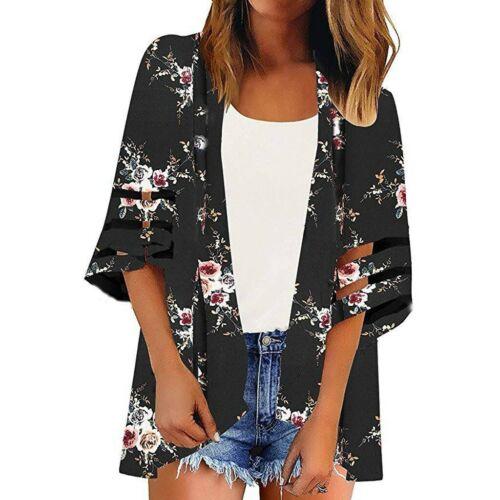 Women Mesh Panel 3//4 Bell Sleeve Pure color Chiffon Casual Loose Kimono Cardigan