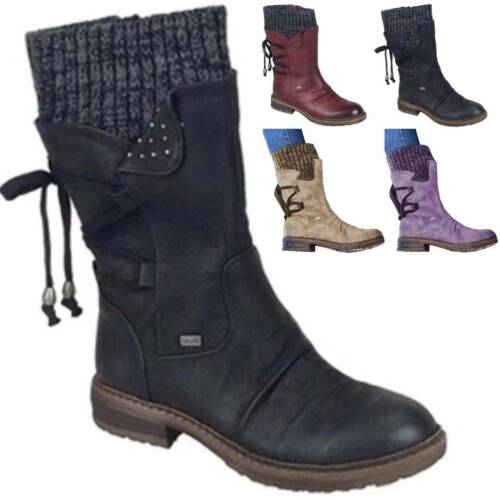 Womens Vintage PU Leather Boot Combat Lace Up Mid Calf Booties Martin Flat Shoes