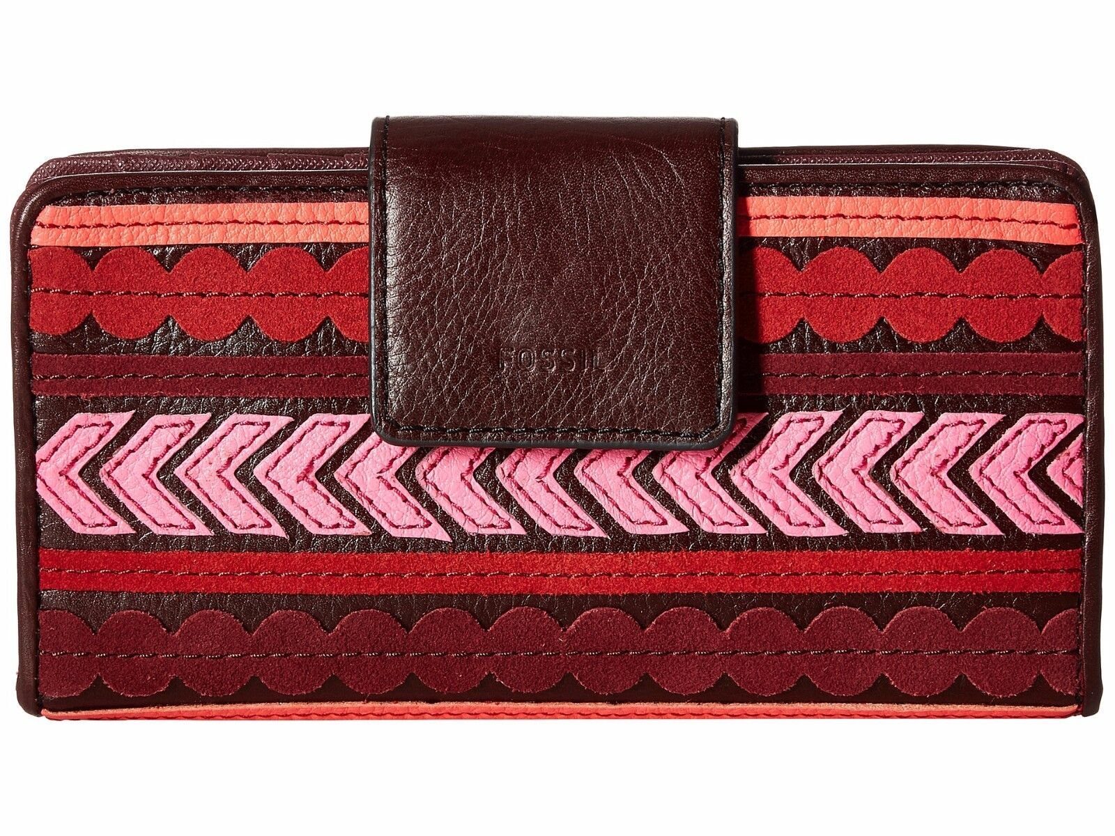 New Fossil Women's Emma Tab RFID Leather Clutch Wallet Variety Colors