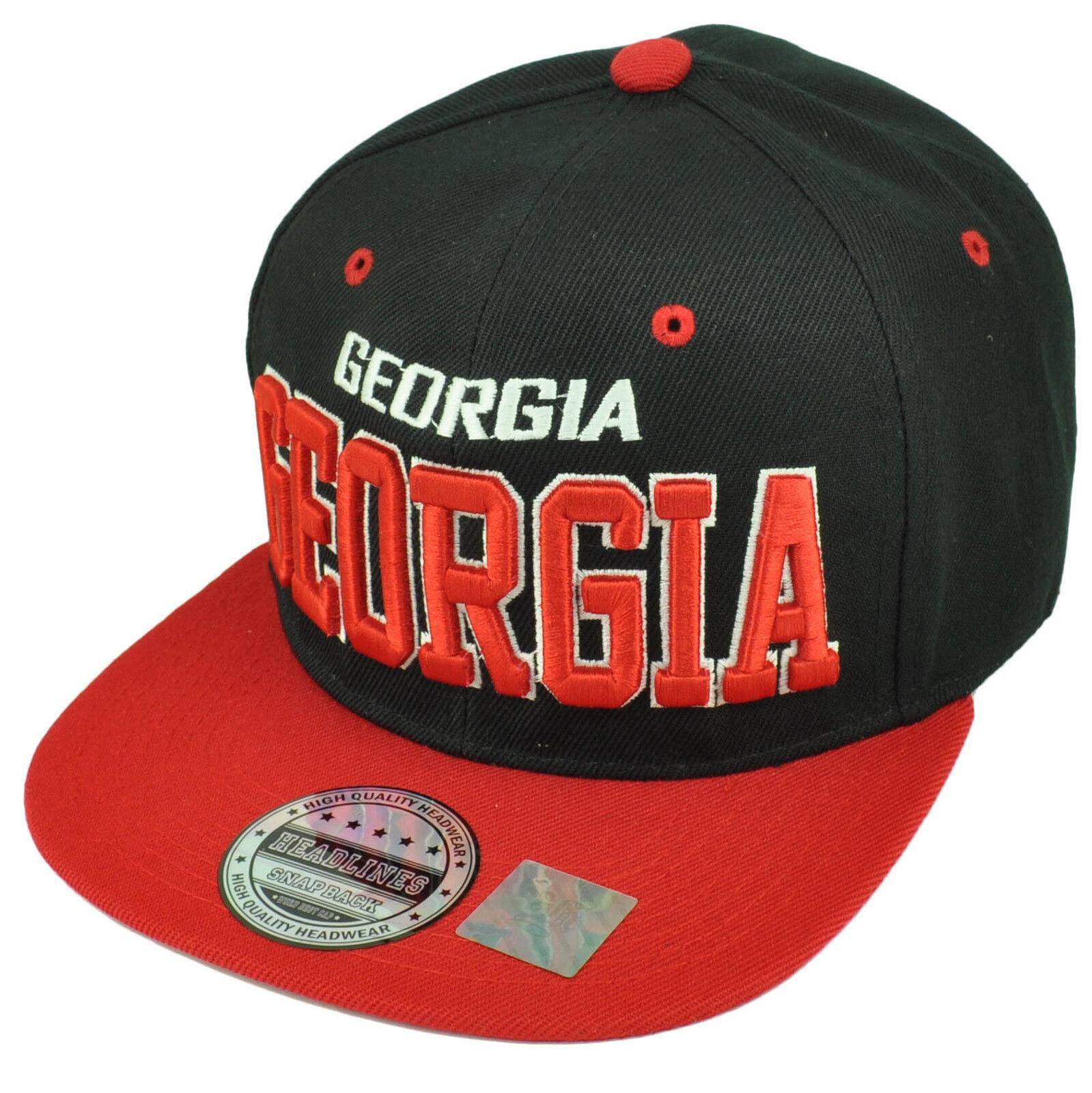 Georgia Empire State South USA Black Hat Red Snapback Flat Bill Hat Black Cap Adjustable 35f403