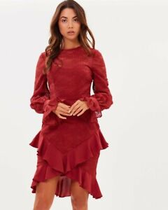 Cooper St Size 10 Dress Rust Ruffles Cuffed Puff Sleeve 'Amore Long Sleeve'