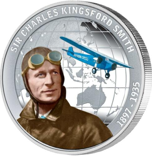 Tuvalu 2010 1 $ SIR CHARLES KINGSFORD SMITH 1 Oz Silver Proof Coin