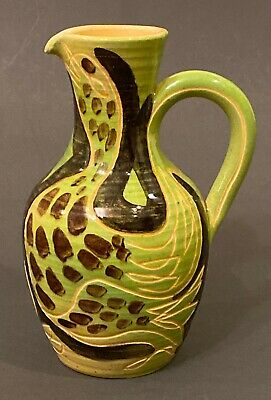 Pottery Art French Ceramics collection ancient carafe Terracotta pitcher enamelled bird d\u00e9cor Hand-painted Na\u00eff Rustique