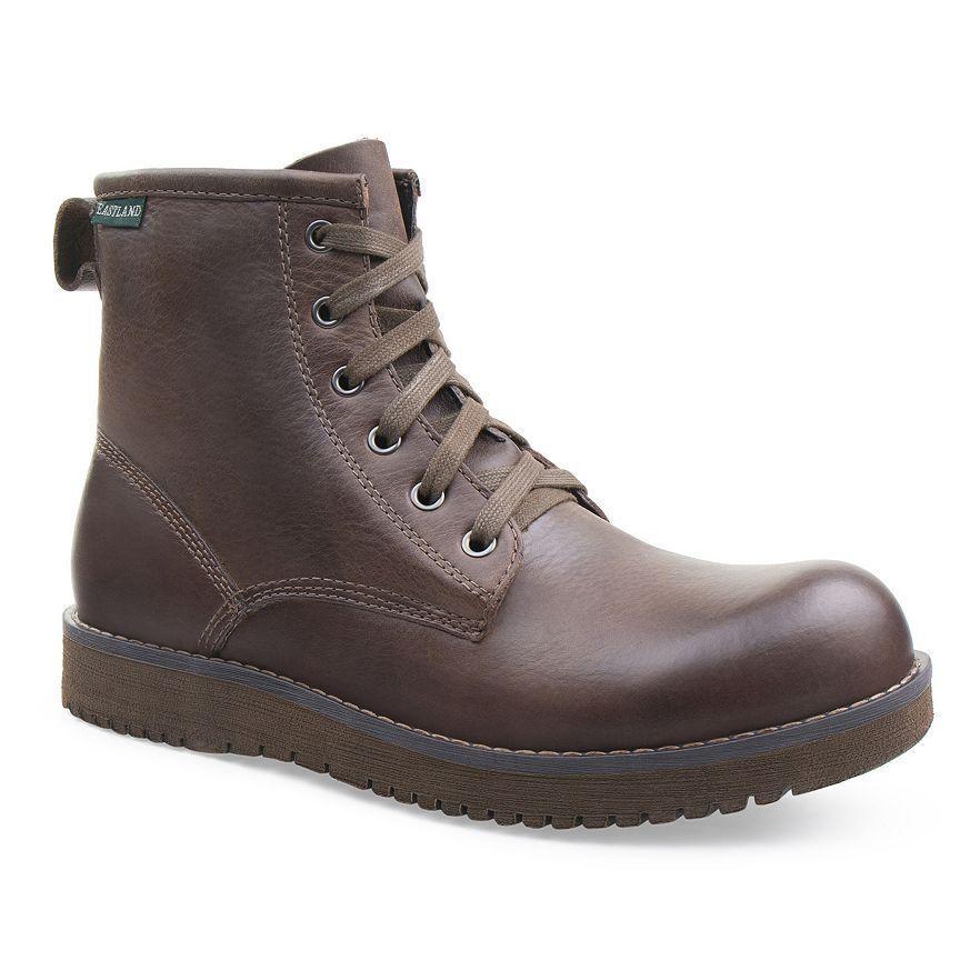 Eastland Adrian Dark Tan Brown Leather Ankle Boots Memory Foam Men's Size 8 NEW