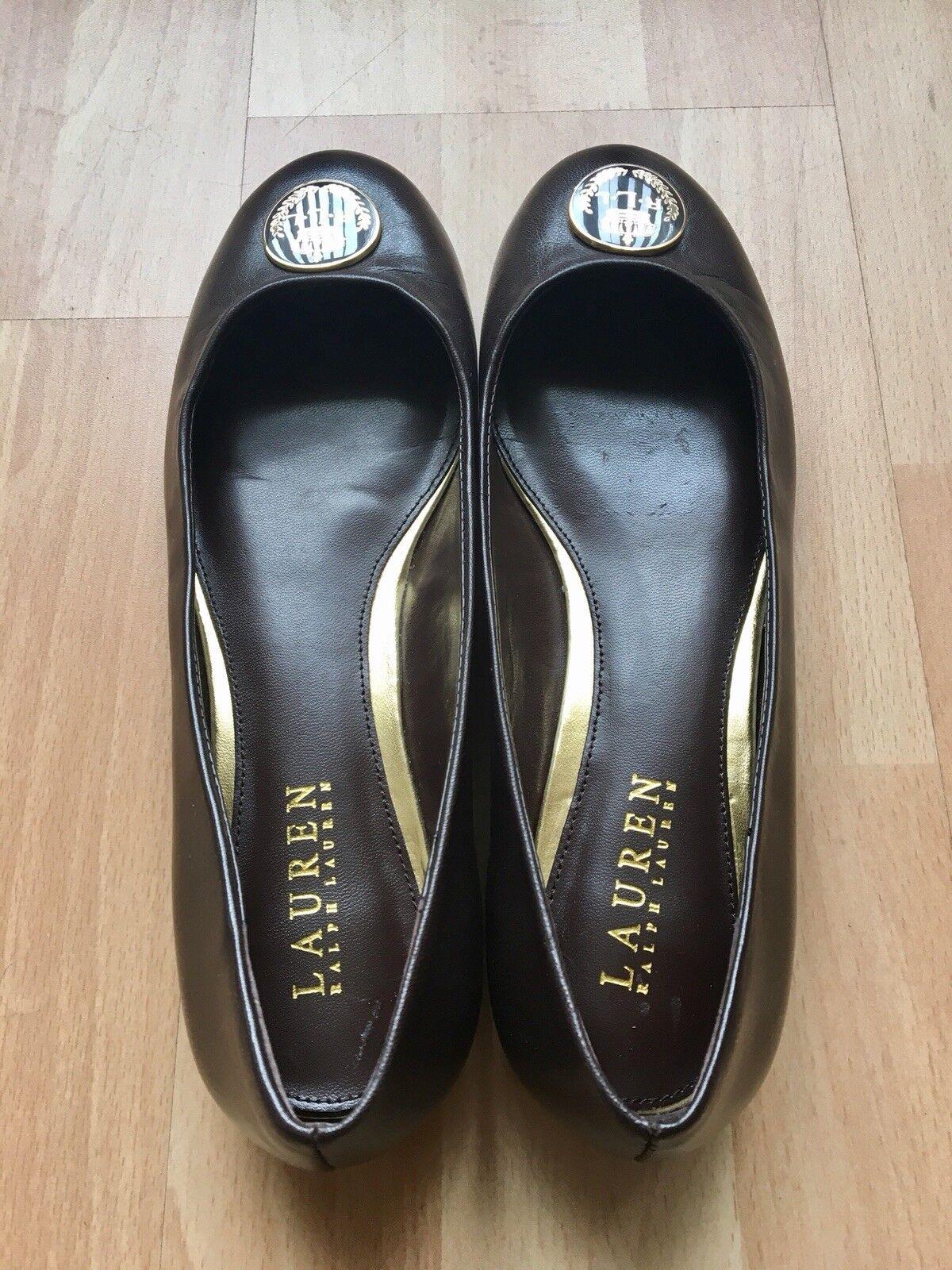 Cuero Cuero Cuero Genuino Ralph Lauren Zapatos Planos Marrón EU 39 UK 6  muchas concesiones