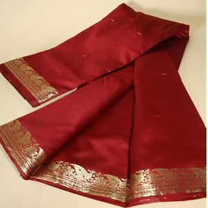 Sari-TEXTILE-ROBE-BOLLYWOOD-Costume-de-carnaval-RIDEAU-Coupon-de-tissu-rouge-23