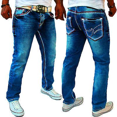 ZAHIDA Jeel Jeans Straight Cut Dicke Nähte Naht Herren Hose j996 Blau Blue NEU