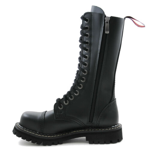 Angry Itch Boots 14 Hole Black Combat Vegan Leather Army Ranger Boots Steel Toe