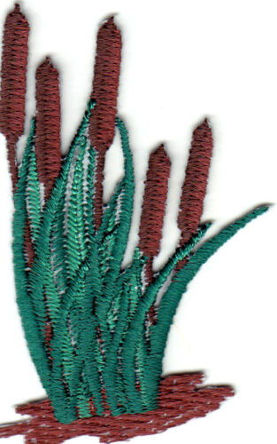 Cattails Plant Garden Iron On Embroidered Patch