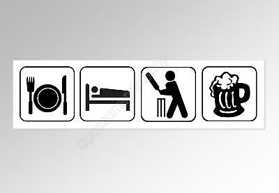 funny car bumper sticker for cricket fans Eat Sleep Cricket Beer 220 mm decal