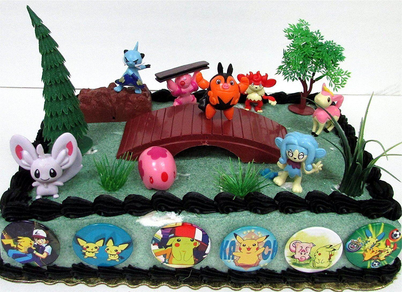 Peachy Pokemon 18 Piece Birthday Cake Topper Set With 8 Random Pokemon Funny Birthday Cards Online Eattedamsfinfo