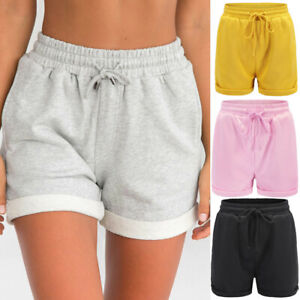Women Summer Solid Loose Hot Pants Lady Summer Beach Shorts Trousers Loose Fitness Yoga Pants