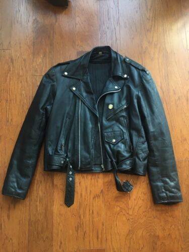 Vintage 80s 70s Moto Leather Jacket Size 44 Large