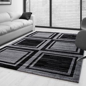 Moderner-Design-Geometrie-gesaeumt-Teppich-Kurzflor-Wohnzim-Schwarz-Grau-meliert