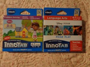 2-GAME-CARTRIDGE-LOT-VTECH-INNOTAB-Disney-PIXAR-Pixar-Play-Doc-McStuffins-4-7YRS