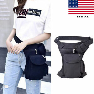 Women Men Canvas Hip Leg Bag Motorcycle Rider Tactical Belt Waist Fanny Pack