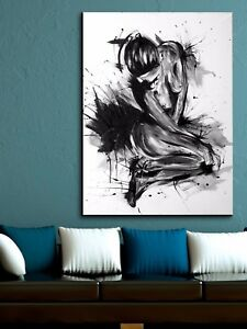 xl leinwand bild 100x80x5 abstrakt frau malerei schwarz weiss modern art gem lde ebay. Black Bedroom Furniture Sets. Home Design Ideas