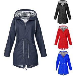 Women-Solid-Hooded-Rain-Winter-Raincoat-Waterproof-Outdoor-CA-Jacket-Windproof