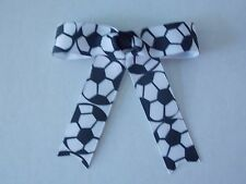 """Hairbow Boutique w/Tails 4"""" x 4"""" White & Black Soccer Balls 3"""" French Barrette"""