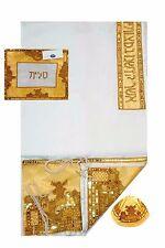 Gold Jerusalem Embroidered Tallit Prayer Shawl Kosher Tallis With Bag & Kippah
