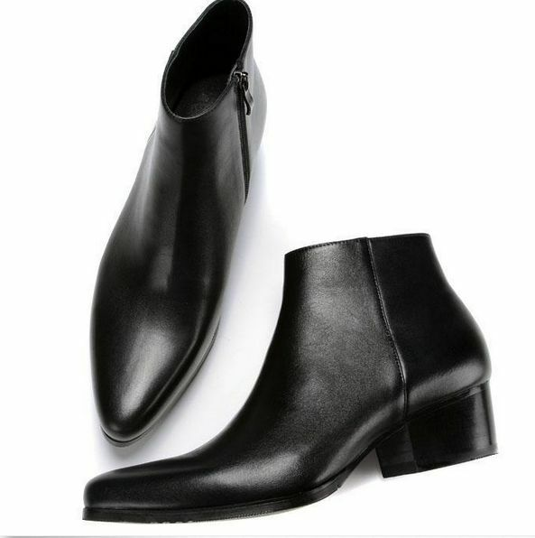 Mens High Top Chelsea Ankle Boots Chukka Vintage Shoes Pointed Toe Wing Tip pump