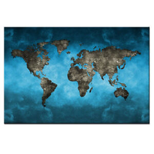 Blue world map canvas print wall art modern abstract global map la foto se est cargando blue world map canvas print wall art modern gumiabroncs Gallery