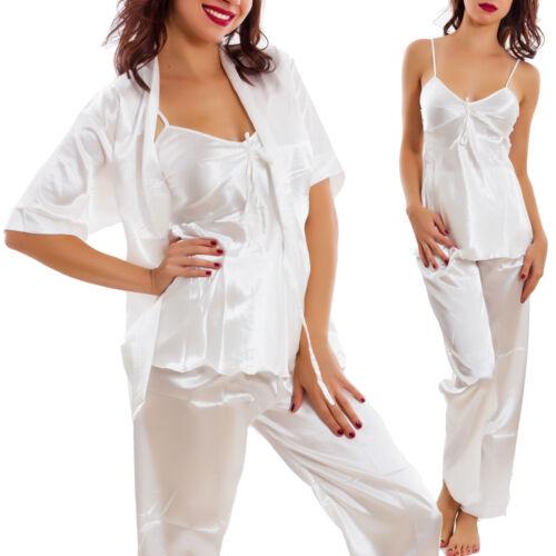 Pyjama Femme Trois Pièces Haut Pantalon Veste Satin Lingerie Neuf A-89