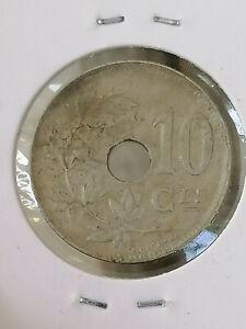 Belgium 10 Ces 1925 Coin (VF)