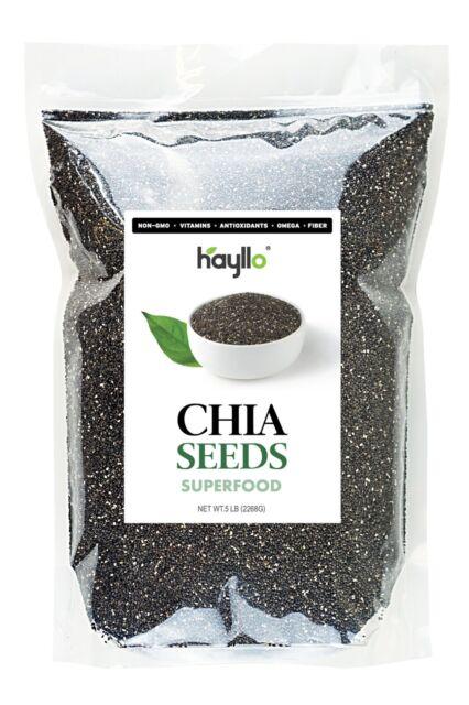 Chia Seeds - 12oz,3 lbs, 5 lbs,6lb,12 lbs , 24 lbs ,55 lbs, - Hayllo Superfood