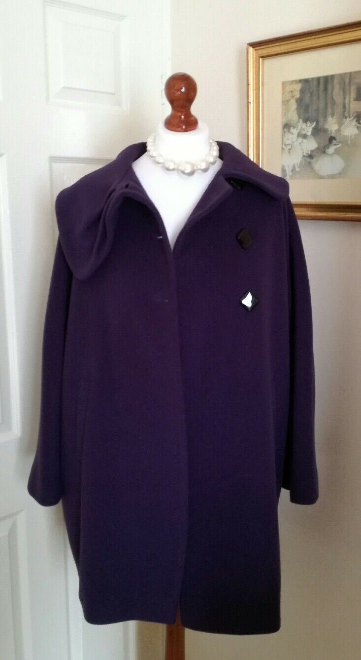 PRECIS Purple Wool Cashmere Coat FR36 UK8 Fabulous
