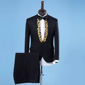 Matrimonio Sera Uomo : Uomo ricamato giacca per completo e set pantaloni cena matrimonio