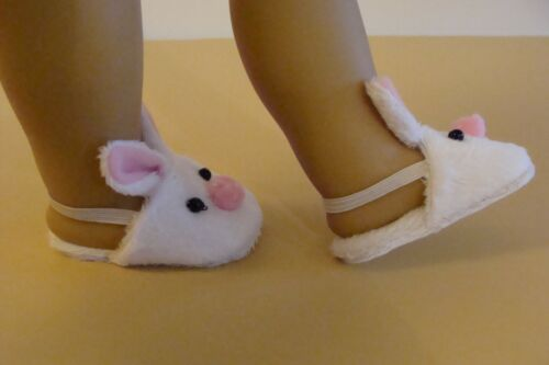 """Adorable White Bunny Slippers For American Girl Doll /& 18/"""" Dolls KNC Too!"""
