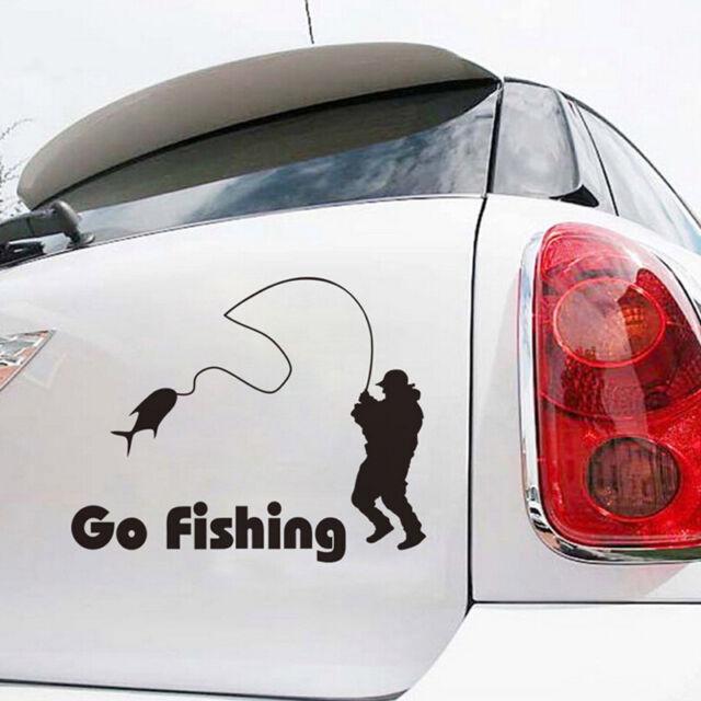 "Interesting 1 Pcs Car Stickers Funny Go Fishing Black Decals 5.51""*4.33""  EO"
