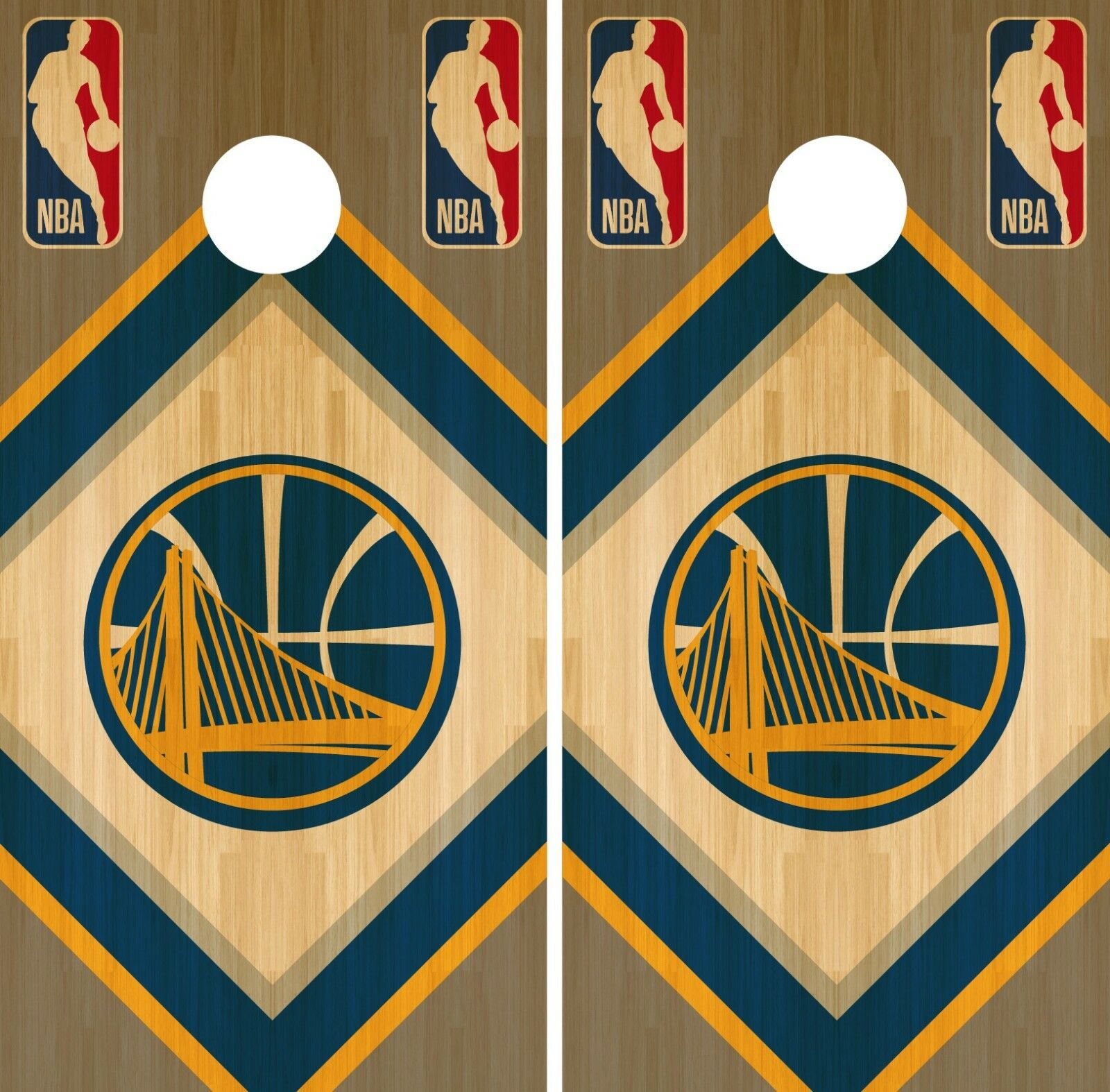 golden State Warriors Cornhole Wrap NBA Wood Game Skin Set Vinyl Decal CO606