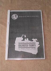 Details about Colchester Triumph Round Head Lathe Manual