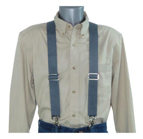 Heavy Duty Dark Gray Nylon Suspenders Scissor Trigger Snaps USA Made