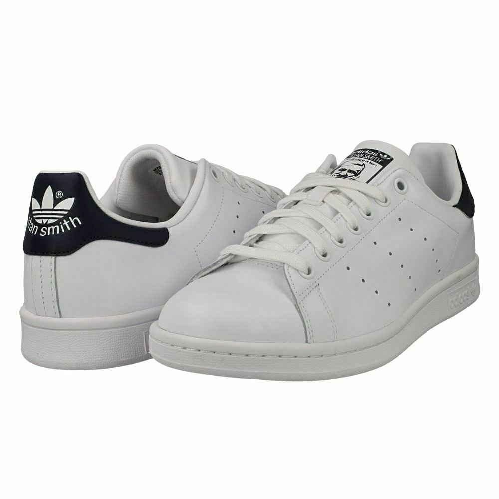 Adidas Mens Stan Smith Leather Trainers White With Navy Heel  (M20325)