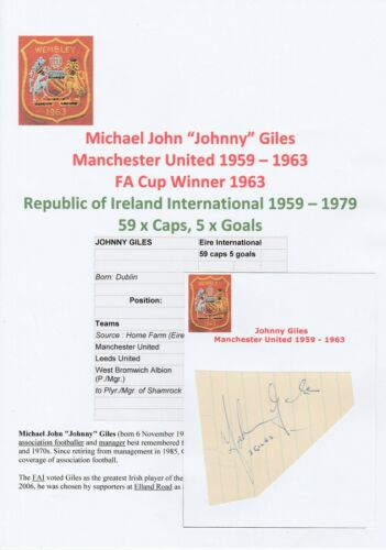 JOHNNY GILES MANCHESTER UNITED 19591963 ORIGINAL HAND SIGNED CUTTINGCARD