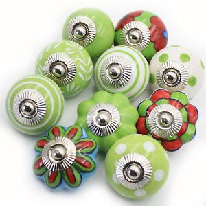 Moebelknoepfe-Set-6-8-10-STK-Griffe-Gruen-Weiss-Keramik-Knoepfe-Moebelknopf-Knauf-GW