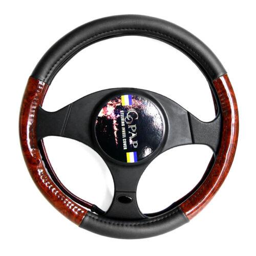 "PU Leather Car Sedan Steering Wheel Cover Set 14/"" Black Wood Grain Universal fit"