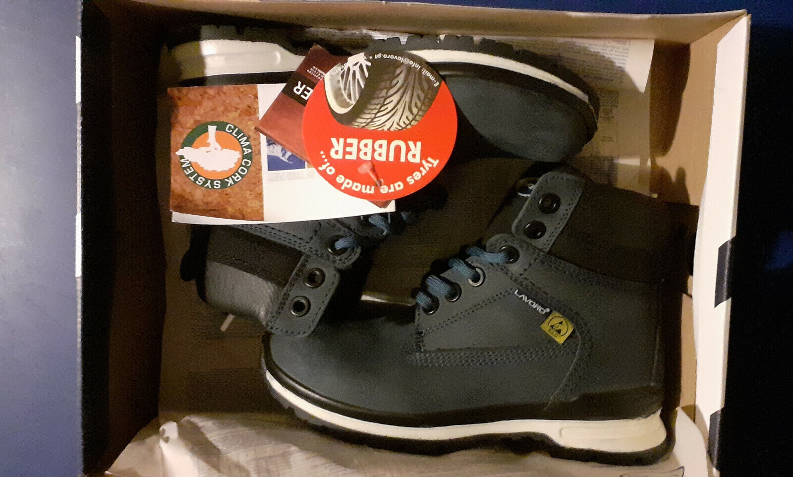 lavoro safety boots [ european size 35]rubber sole blue leather upper