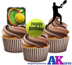 Détails Sur 12 X Mâle Balle De Tennis Player Joyeux Anniversaire Mix Comestibles Glaçages Pour Gâteau Stand Ups Afficher Le Titre Dorigine