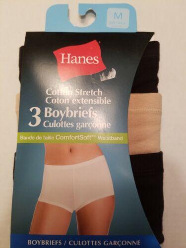 HANES Boybrief Panties 3 Pairs Cotton  Stretch Underwear 6//M NWT
