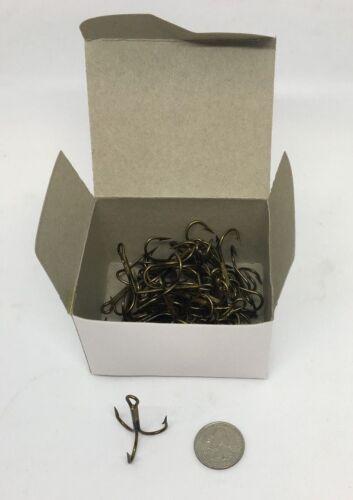 BOX OF BRONZE TREBLE FISHING HOOKS SIZE 3//0 36 PER BOX 125-3//0