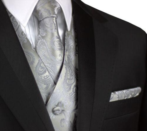 FORMAL WEDDING PROM TIE /& HANKIE SET MEN/'S SILVER PAISLEY FORMAL TUXEDO VEST